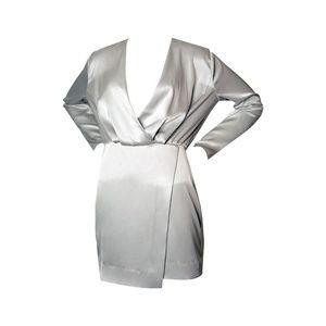 Cushnie Long-Sleeve Mini Silk Cocktail Dress